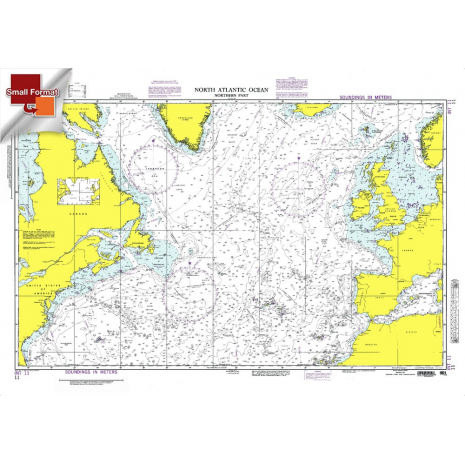 """Miscellaneous International :NGA Chart 11: North Atlantic Ocean - Northern Part, Approx. Size 21"""" x 31"""" (SMALL FORMAT WATERPROOF)"""