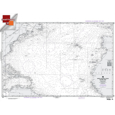 "Miscellaneous International :NGA Chart 120: North Atlantic Ocean Southern Sheet, Approx. Size 21"" x 28"" (SMALL FORMAT WATERPROOF)"
