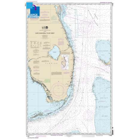 Gulf Coast Charts :Large Format NOAA Chart 11460: Cape Canaveral to Key West