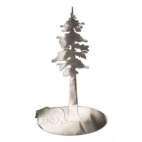 Metal Displays :Stainless Redwood Tree w/Bear STAND-UP