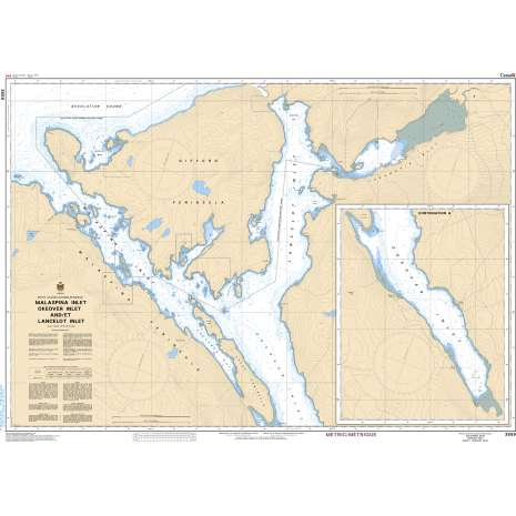 Pacific Region Charts :CHS Chart 3559: Malaspina Inlet, Okeover Inlet and/et Lancelot Inlet