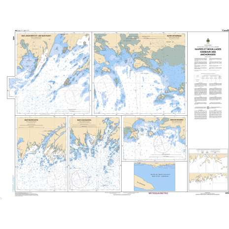 Quebec Region Charts :CHS Chart 4452: Havres et Mouillages - Harbours and Anchorages - Côte-Nord/North Shore