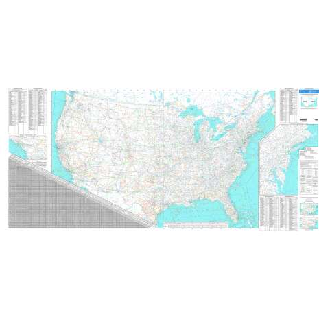 "Planning Charts :FAA Chart: U.S. IFR/VFR Low Altitude Planning Chart FLAT 80"" x 40"" ONE-SIDED"