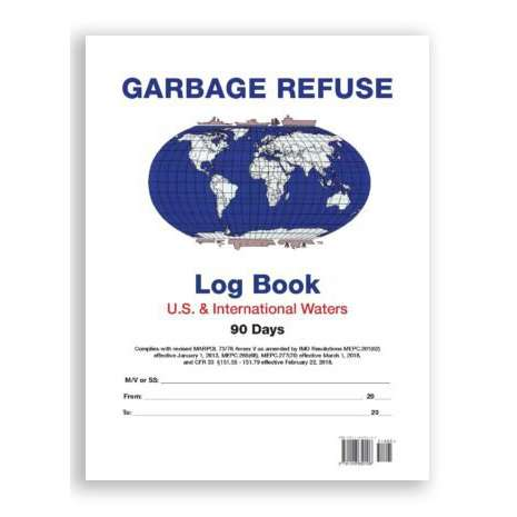 Logbooks :IMO Garbage Refuse Logbook for US and International Waters (90 Days)