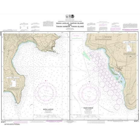 Pacific Coast Charts :NOAA Chart 81071: Commonwealth of the Northern Mariana Islands Bahia Laolao: Saipan Island and Tinian Harbor: Tinian Island