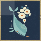 Postcards & Stationary :Whale Has A Friend GreenGift-Notes, Eco-Friendly Mini Gift Notes and Envelopes