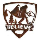 "Bigfoot Metal Art :Believe Bigfoot ""Shield"" MAGNET - Bigfoot Gift"