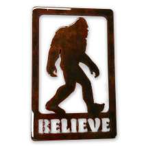 "Bigfoot Metal Art, ""Believe"" Bigfoot MAGNET"
