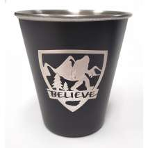 "Bigfoot Novelty Gifts :Bigfoot ""BELIEVE"" Stainless Steel Shot Glass"
