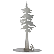 Metal Displays & Stand-ups :Stainless Steel Redwood Tree With Logger Stand-Up