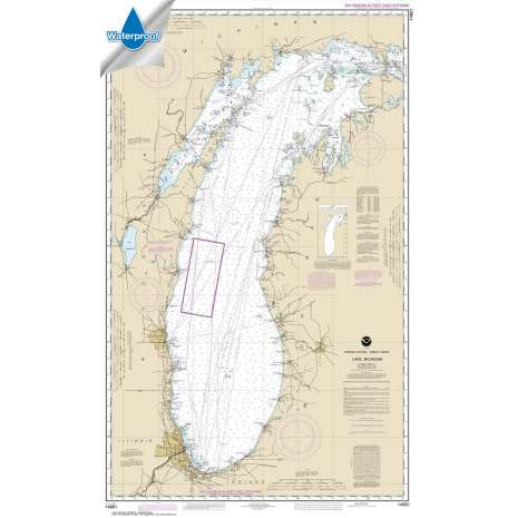 Waterproof NOAA Charts :Waterproof NOAA Chart 14901: Lake Michigan (Mercator Projection)