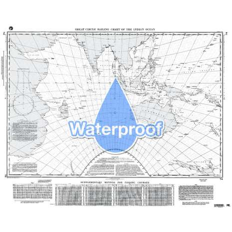 Miscellaneous International, Waterproof NGA Chart 74: Great Circle Sailing Chart of Indian Ocean