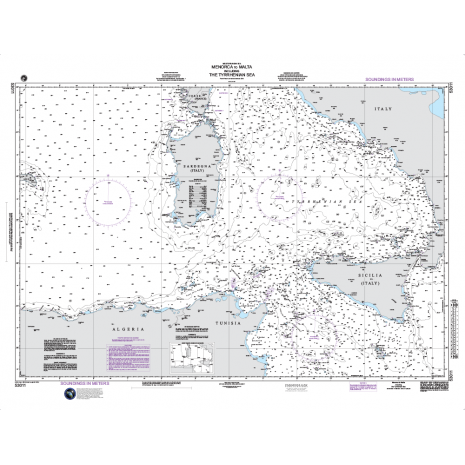 Region 5 - Western Africa, Mediterranean, Black Sea :NGA Chart 53011: Menorca to Malta including the Tyrrhenian Sea