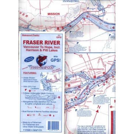 Fishing :Fish-n-Map: Fraser River, Vancouver to Hope includes Pitt & Harrison Lakes