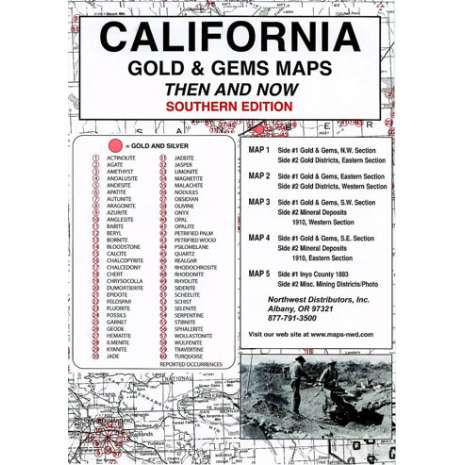 Historical Site and Related Guides :California (Southern) Gold and Gems Map, Then and Now