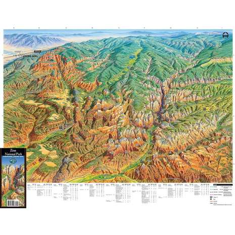 Rocky Mountain and Southwestern USA Travel & Recreation, Zion National Park Panoramic Hiking Map