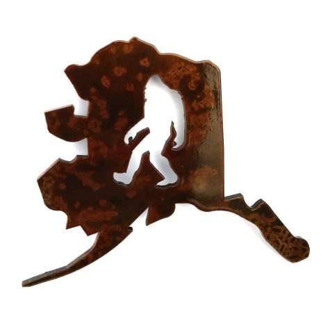 Bigfoot Metal Art :Alaska Bigfoot MAGNET - Bigfoot Gift