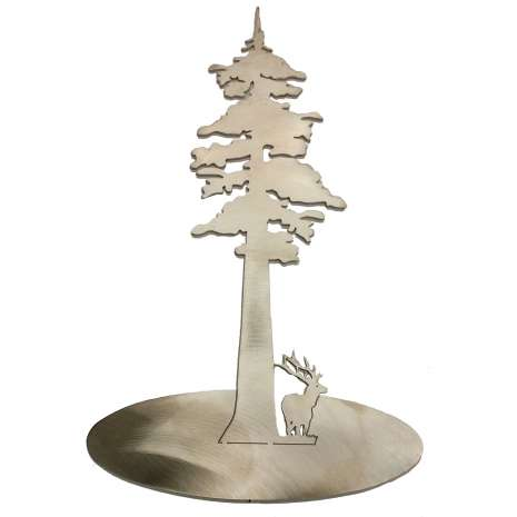 Magnets & Metal Art, Stainless Steel Redwood Tree With Elk Stand-Up