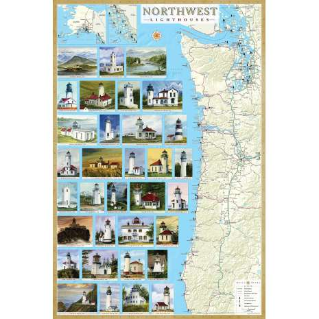 Lighthouses, Northwest Lighthouses Illustrated Map & Guide Laminated Poster
