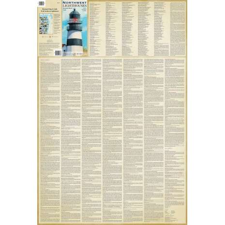 Lighthouses :Northwest Lighthouses Illustrated Map & Guide Laminated Poster