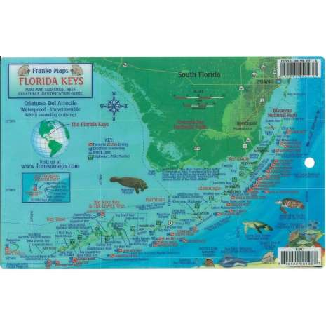 Florida and Southeastern USA Travel & Recreation :Florida Keys Coral Reef Creatures & Dive Map LAMINATED CARD