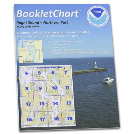 """Pacific Coast Charts :NOAA BookletChart 18441: Puget Sound-Northern Part, Handy 8.5"""" x 11"""" Size. Paper Chart Book Designed for use Aboard Small Craft"""