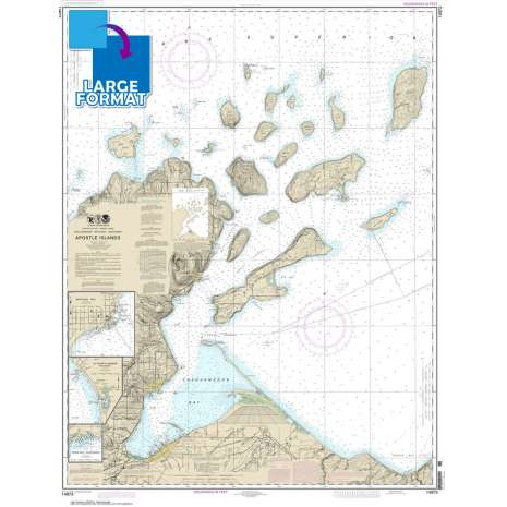 Great Lakes Charts :Large Format NOAA Chart 14973: Apostle Islands: including Chequamegan Bay;Bayfield Harbor;Pikes Bay Harbor;La Pointe Harbor