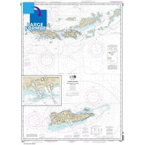 Gulf Coast Charts :Large Format NOAA Chart 25641: Virgin Islands-Virgin Gorda to St. Thomas and St. Croix;Krause Lagoon Channel