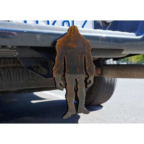 """Bigfoot Metal Art :Cryptid Trailer Hitch Cover 3/8"""" STEEL, MADE IN USA"""